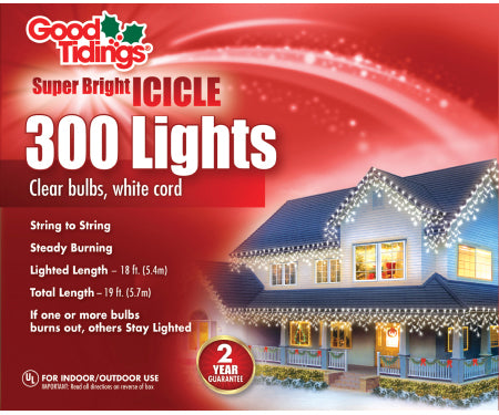 Super Bright Lights Icicle - 300 Mini Clear Bulbs with White Wire