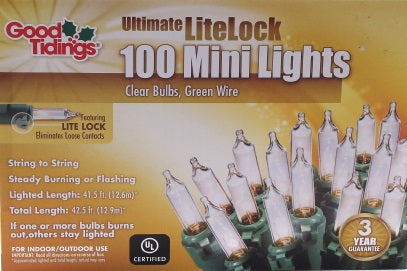 Ultimate LiteLock Lights - Mini Clear Bulbs with Green Wire
