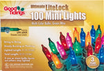 Ultimate LiteLock Lights - 100 Mini Multi Colored Bulbs with Green Wire