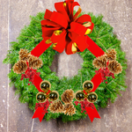 "Decorated Balsam Wreath - 10"" ring (20"" Outside Diameter) - Multiple Styles"