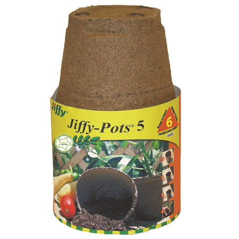 Jiffy Peat Pot Round - 5 in - 6 Pack