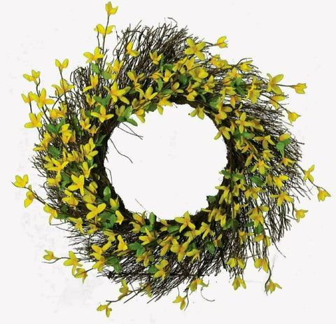 Artificial Forsythia & Twig Wreath 24""