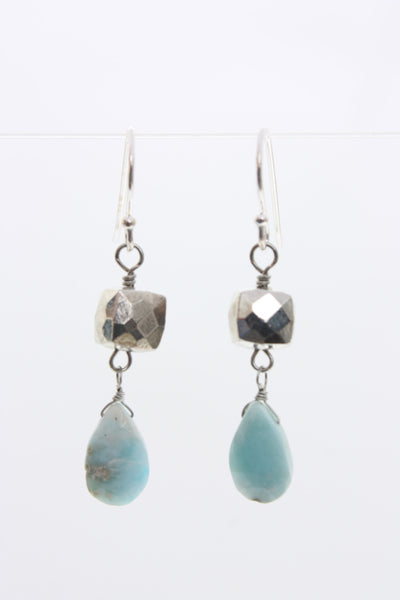 Semi Precious Cube and tear drop earrings Village Vogue.