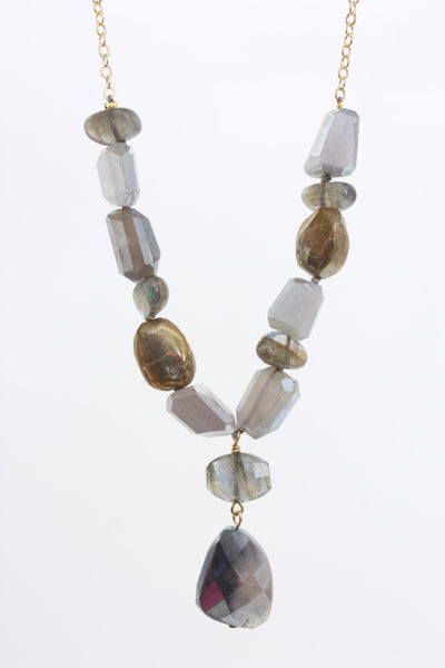 AV Max Semi Precious Nugget Cluster Necklace 14kK gold plated.