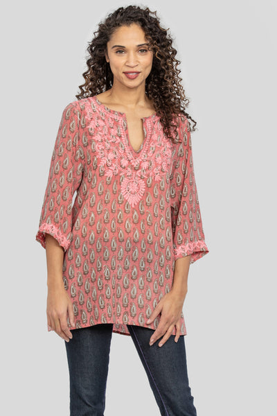 Amaya Harriet Coral Silk Tunic with delicate hand embroidery at Village Vogue.