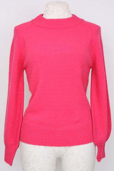 Central Park West Bergamot Fuzzy Crewneck Sweater in pink.