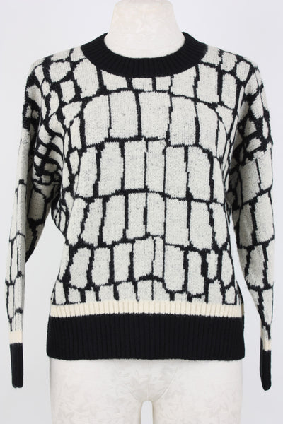 long sleeve Central Park West Morris sweater with block pattern