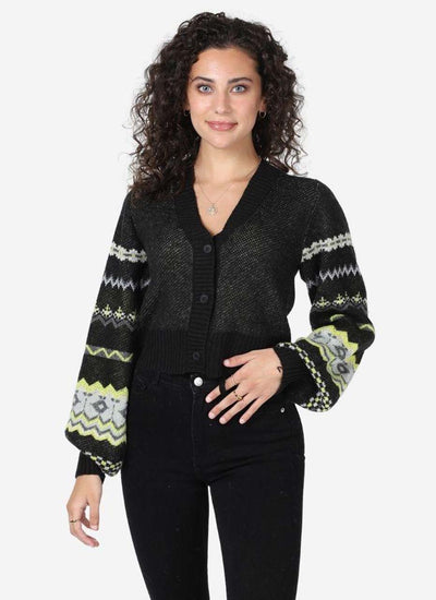 Central Park West Vetiver Cardigan with long puff sleeves in lime and black.
