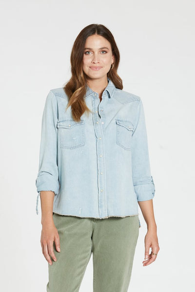 Dear John Denim Casey Denim Top in Sea Blue at Village Vogue.