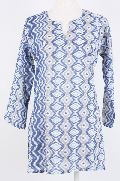 Ikat print tunic with a V-neck and long sleeves.