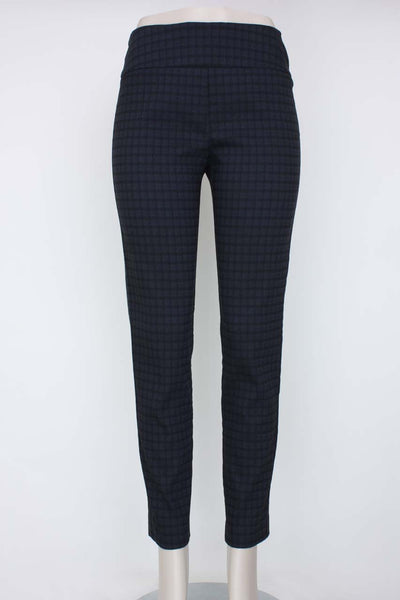 Elliott Lauren Windowpane Pull-on Pant, control stretch fabric. Village Vogue.