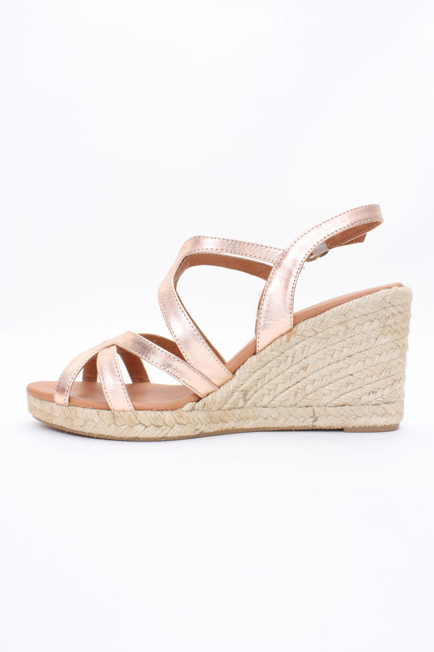 Eric Michael Lindsey Wedge Sandal Cosmos Rose Gold