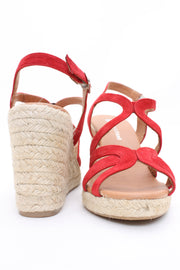 Eric Michael Lindsey Wedge Sandal Suede Red