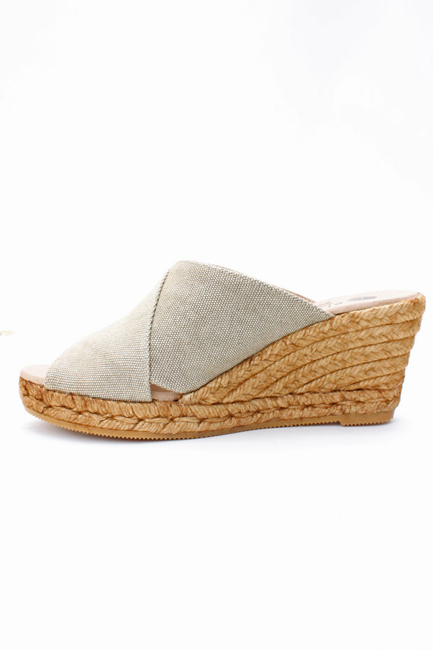 Eric Michael Florence Slip on Wedge Sandal Beige