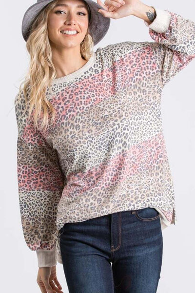 Hailey & Co Animal Print Top in multi color leopard print.
