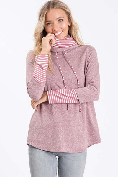 Hailey & Co French Terry Turtle Neck Top in mauve, Village Vogue