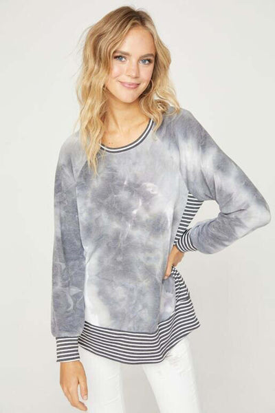 Hailey & Co Tie-Dye Top with Stripe Detail at Village Vogue.