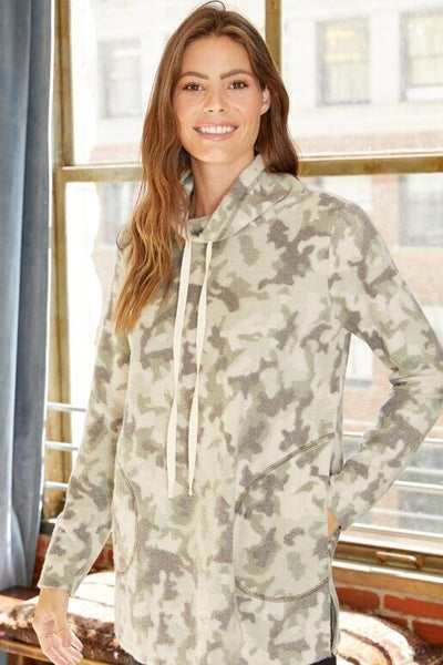 Hailey & Co High Neck Tunic with drawstring in camo available at Village Vogue.
