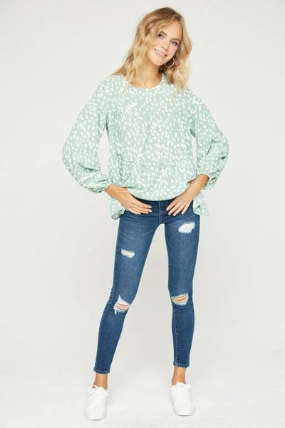 Hailey & Co Leopard Bubble Print Top in sage at Village Vogue.