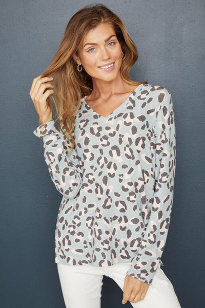 Hailey & Co Leopard Print V-neck Top with long sleeves. Village Vogue