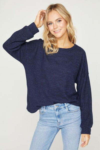 Hailey & Co Round Neck Hacci Top in Navy available at Village Vogue.