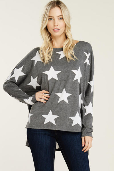 Hailey & Co Star Printed Top Charcoal