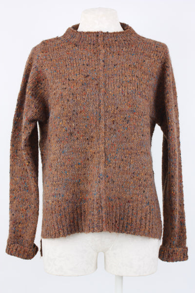 Incashmere Tweed Pullover Sweater perfect for chilly fall weather color, cognac.