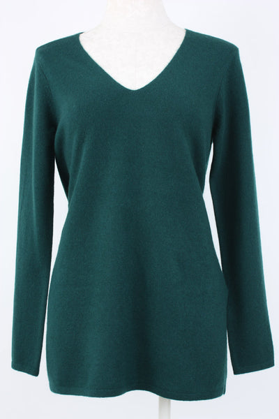 Incashmere V-neck Tunic 100% Cashmere in hunter green, Village Vogue.