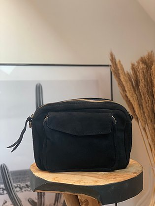 JiJou Capri Crossbody Camera Bag in Super Soft Black Suede.
