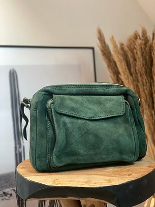 Jijou Capri Crossbody Suede Camera Bag in Green. The perfect size for all of your essentials at Village Vogue.