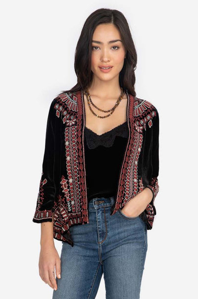Johnny Was Aurore Velvet Bolero, A chic embroidered jacket
