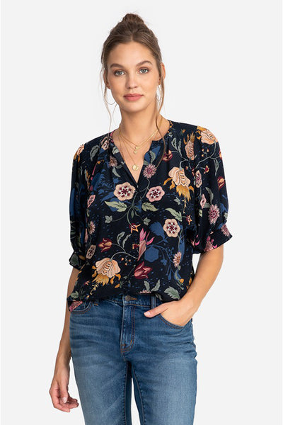 Johnny Was Pegasi Blouse, with beautiful floral print.