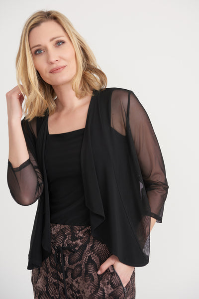 Sheer open front jacket in black. Village Vogue