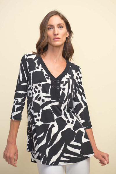 Joseph Ribkoff Animal Print Top with Lace-Up Detail Style 211285 at Village Vogue.