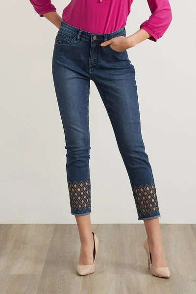 Joseph Ribkoff Diamond Cut-out Jeans Style 211967 in Medium Blue Denim Available at Village Vogue.
