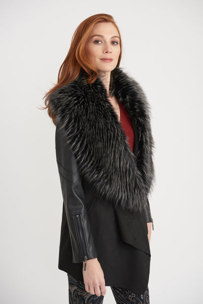 Joseph Ribkoff Faux Fur Collar Coat Style 203116, Village Vogue.