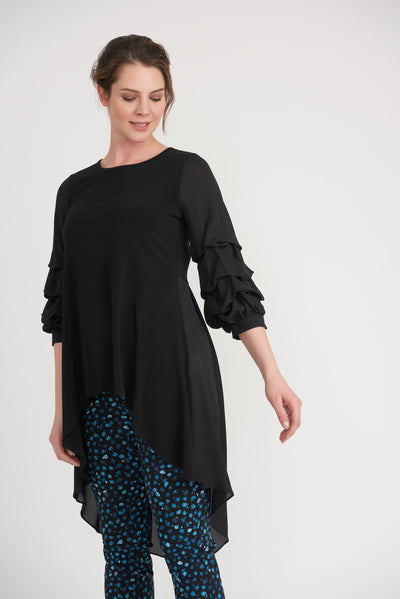 Joseph Ribkoff Gathered Sleeve Tunic Style 203016 in black, Village Vogue.