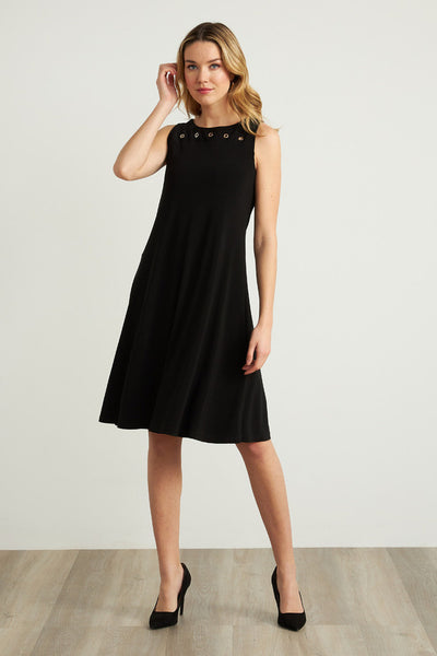 Joseph Ribkoff Grommet Detail A-Line Dress Style 211244 Black Available at Village Vogue.
