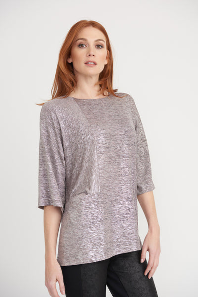 A shimmering pink lurex top with 3/4 sleeves Village Vogue