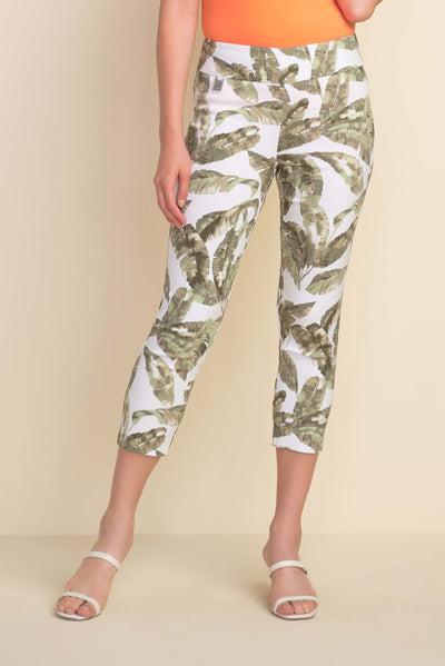 Joseph Ribkoff stretchy Palm Print Capris Style 212116 in olive,  available at Village Vogue.