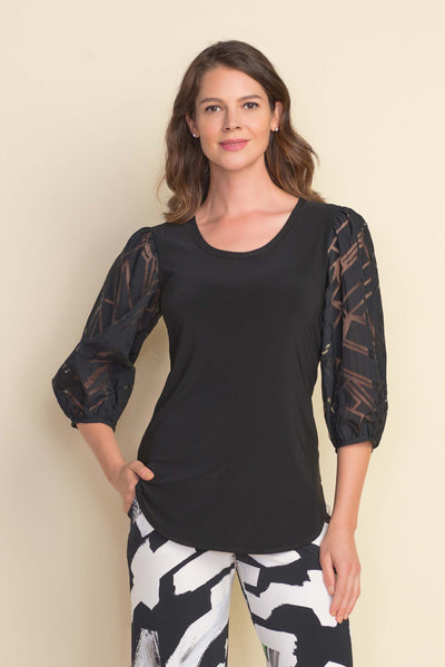 Joseph Ribkoff Sheer Blouson Sleeve top Style 212229 in Black Available at Village Vogue.