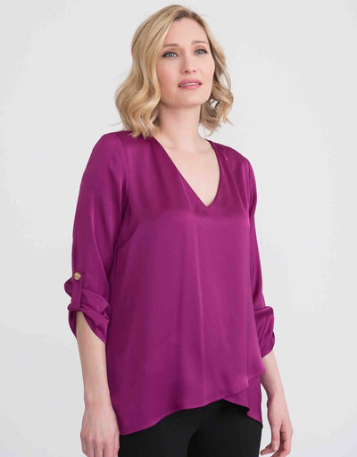Joseph Ribkoff Top Style 204312 with tab sleeves in Magenta. Village Vogue