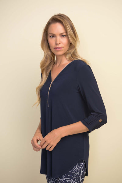 Joseph Ribkoff Zip Top with 3/4 sleeves in in midnight, Style 211115 available from Village Vogue.