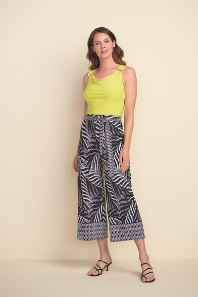 Joseph Ribkoff Tropical Wide Leg Pant Style 212233 in Black and Vanilla at Village Vogue.
