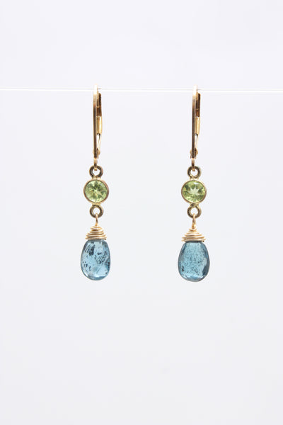 Village Vogue Peridot bezel with indigo drop earring