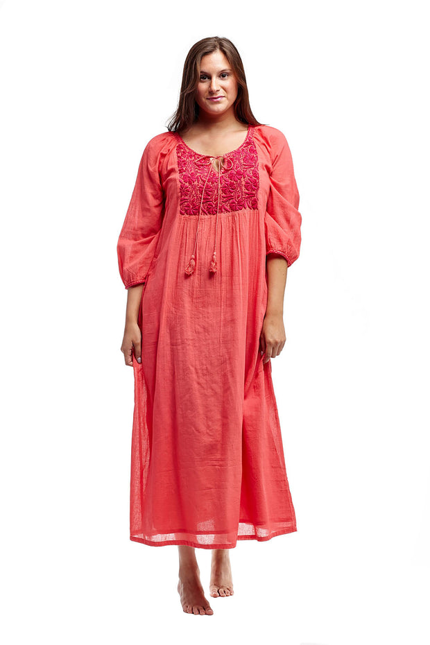 Village Vogue cotton embroidered caftan in coral