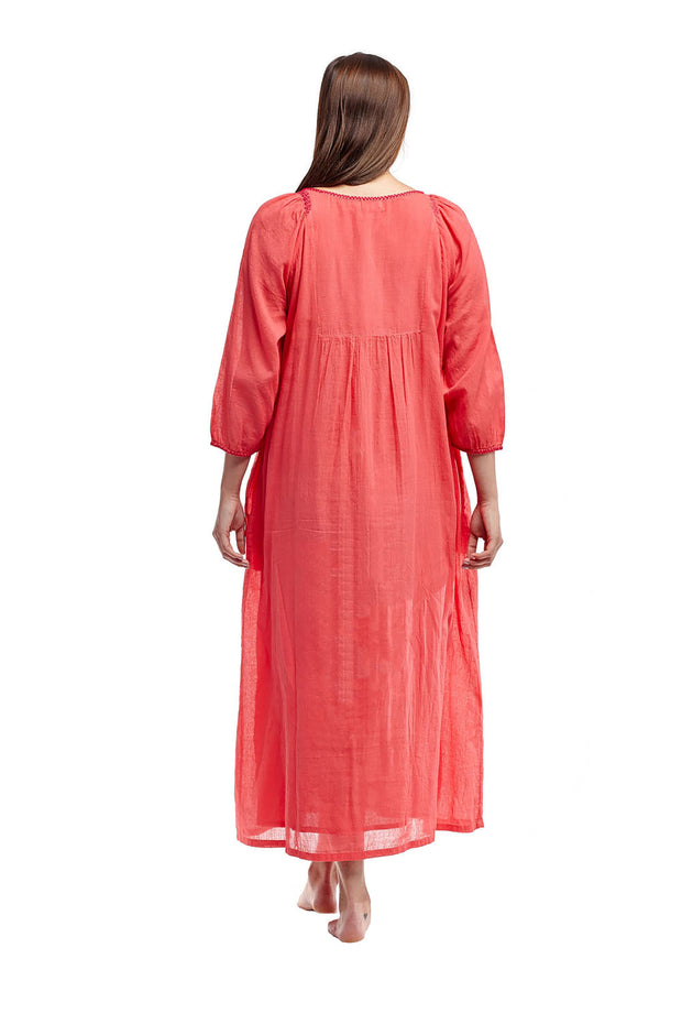 La Cera Cotton Embroidered Caftan Coral