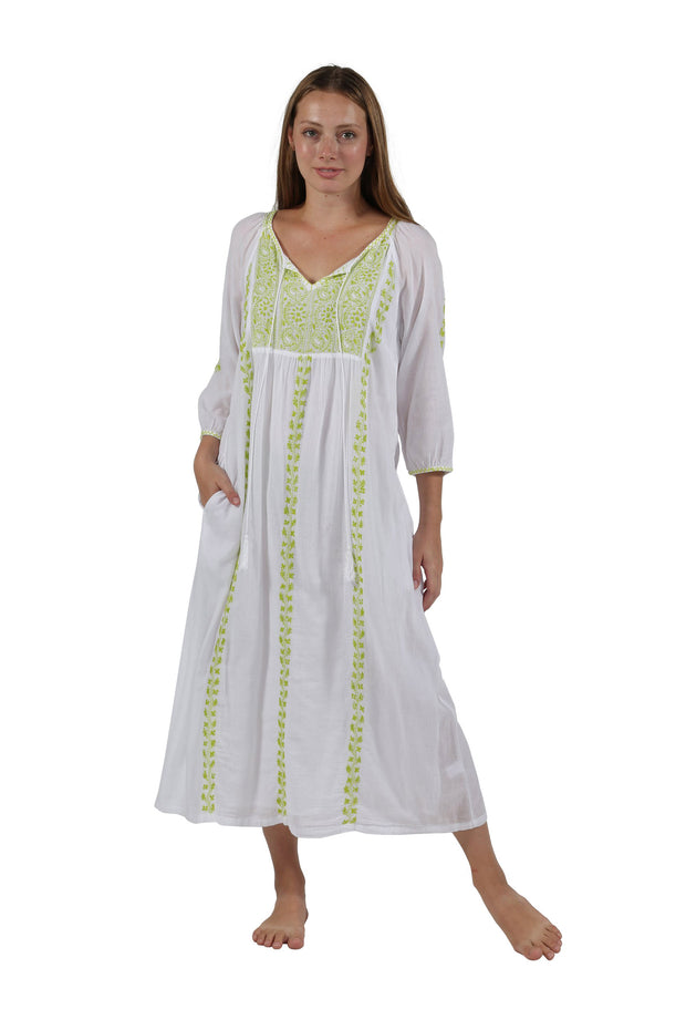 Village Vogue Beautiful cotton caftan dress in white with lime color embroidery