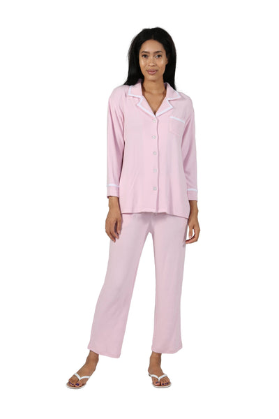 La Cera The Comfort Collection Tailored PJ Set in pink. Village Vogue