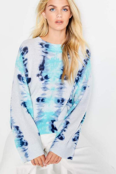 Lisa Todd Dream On Dreamy Blues Crew Neck Sweater Available at Village Vogue.